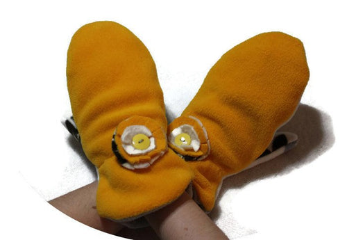Yellow handmade fleece mittens,fleece handmade mittens,fleece mittens,women,teens,Eco-Friendly,floral fleece lining,O/S,