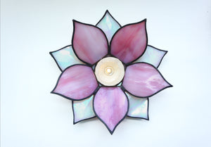 3D flower glass candle holder