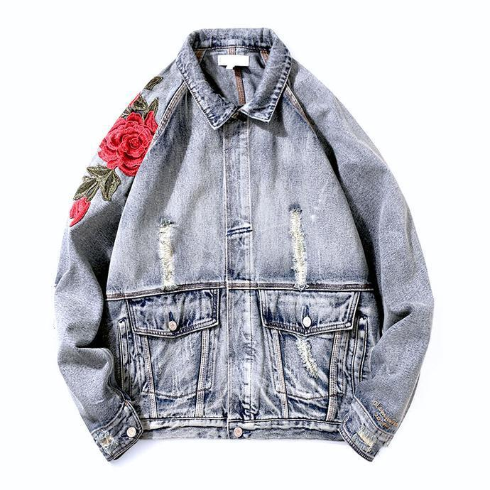 Roses Embroidered Denim Jacket Hawking