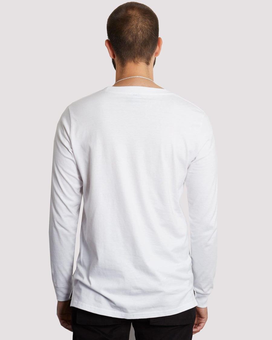 Garnet Long Sleeve T-shirt in White - Blood Brother