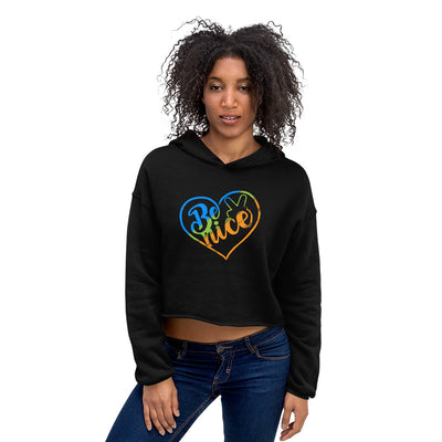 Peace, Love, Be Nice Women's Crop Hoodie