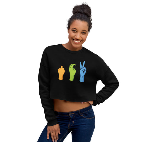 Women's Peace Sign Crop Sweatshirt