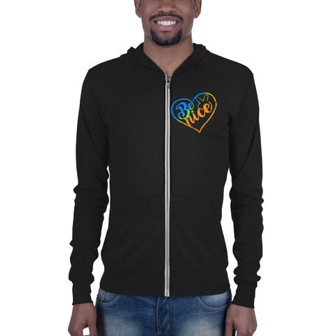 Peace, Love, Be Nice Zip hoodie