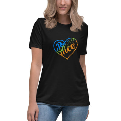 Peace, Love, Be Nice Women's Relaxed T-Shirt