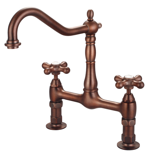 Guthrie Kitchen Bridge Faucet with Metal Button Cross Handles