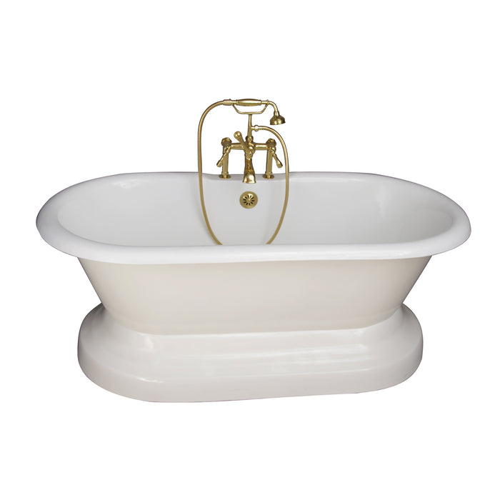 "Columbus 61"" Cast Iron Double Roll Top Tub Kit-Polished Brass Accessories"