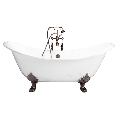 Marshall 71″ Cast Iron Double Slipper Tub Kit – Oil Rubbed Bronze Accessories