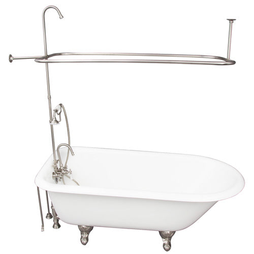 Bartlett 60″ Cast Iron Roll Top Tub Kit – Brushed Nickel Accessories