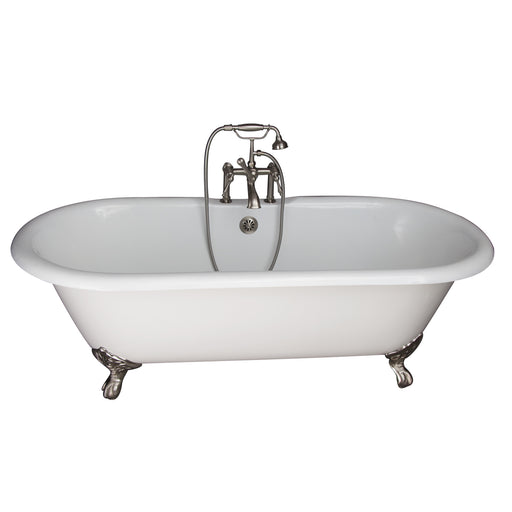 "Columbus 61"" Cast Iron Double Roll Top Tub Kit-Brushed Nickel Accessories"