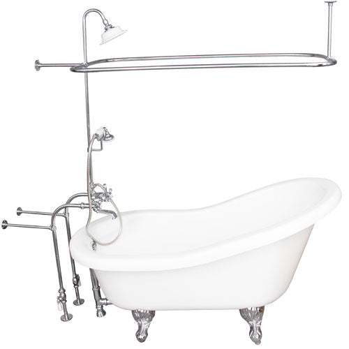 Isadora 67″ Acrylic Slipper Tub Kit in White – Polished Chrome Accessories