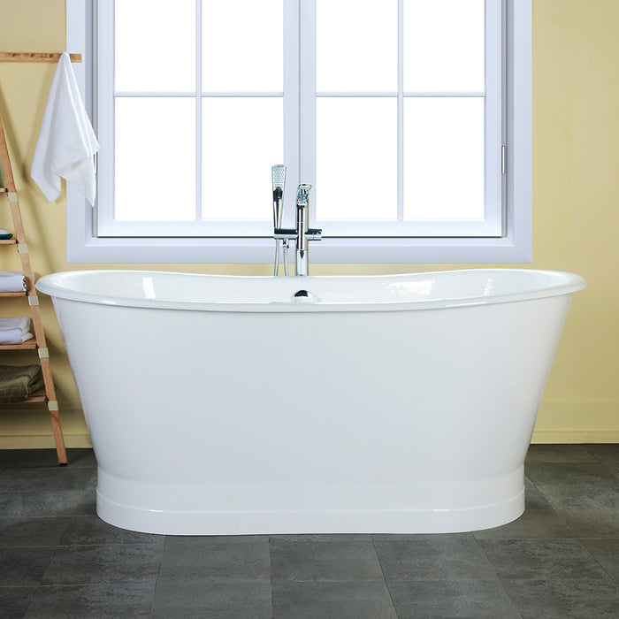 "Wakely 68"" Extra Wide Cast Iron Bateau Tub"