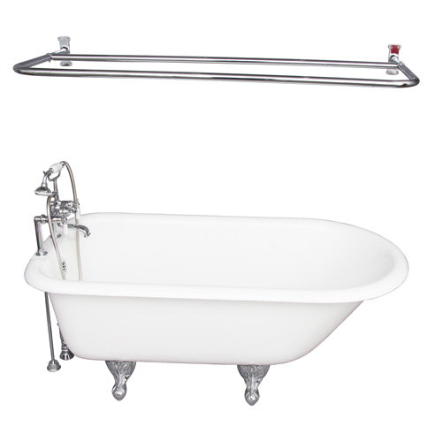 Cadmus 68″ Cast Iron Roll Top Tub Kit – Polished Chrome Accessories