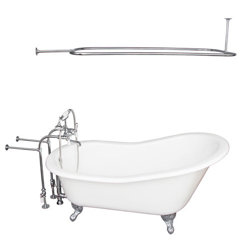 Griffin 61″ Cast Iron Slipper Tub Kit – Polished Chrome Accessories
