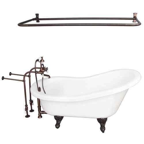 Imogene 67″ Acrylic Slipper Tub Kit in White – Oil Rubbed Bronze Accessories