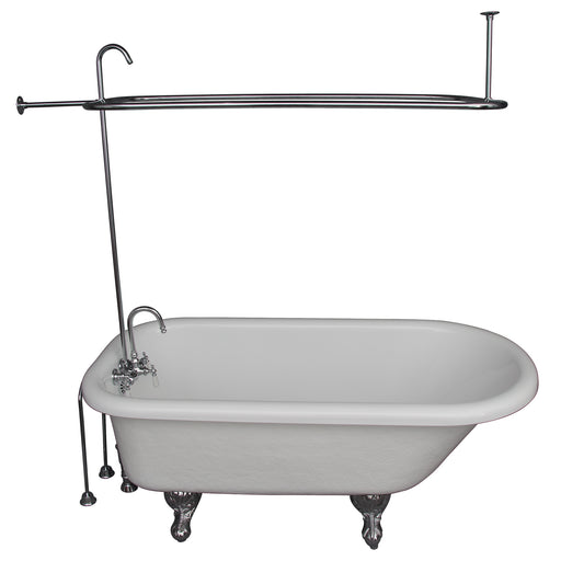 Andover 60″ Acrylic Roll Top Tub Kit in White – Polished Chrome Accessories
