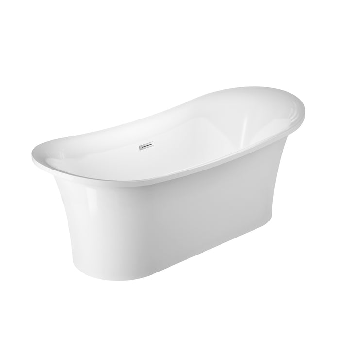 "Nydia 72"" Acrylic Double Slipper Tub with Integrated Drain and Overflow"