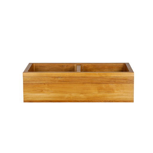 "Malaki 36"" Banded Double Bowl Teak Kitchen Sink"