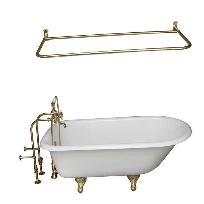 "Antonio 55"" Cast Iron Roll Top Tub Kit-Polished Brass Accessories"