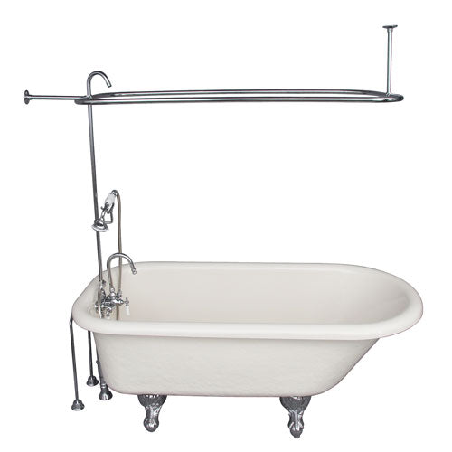 Andover 60″ Acrylic Roll Top Tub Kit in Bisque – Polished Chrome Accessories