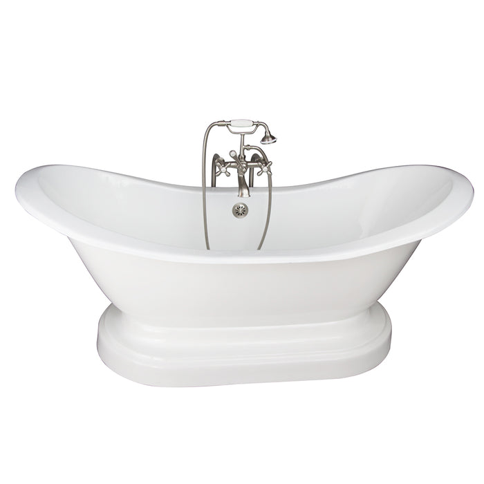 Marshall 72″ Cast Iron Double Slipper Tub Kit – Brushed Nickel Accessories