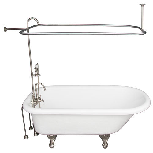 Andover 60″ Acrylic Roll Top Tub Kit in White – Brushed Nickel Accessories