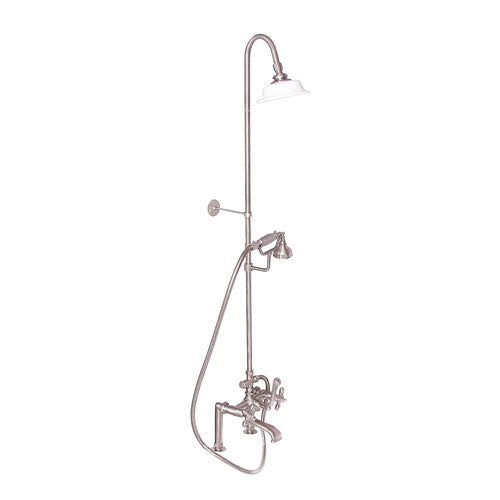 Tub Filler with Diverter Hand-Held Shower and Riser