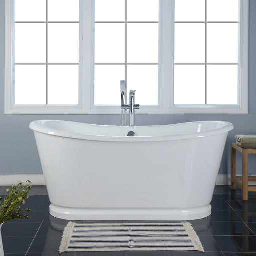 "Laurent 72"" Cast Iron Bateau Tub with White Metal Steel Skirt"