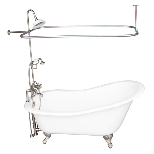 Icarus 67″ Cast Iron Slipper Tub Kit – Brushed Nickel Accessories