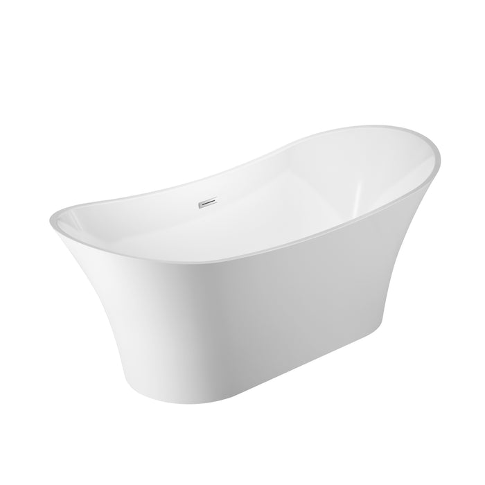 "Noreen 69"" Acrylic Double Slipper Tub with Integrated Drain and Overflow"