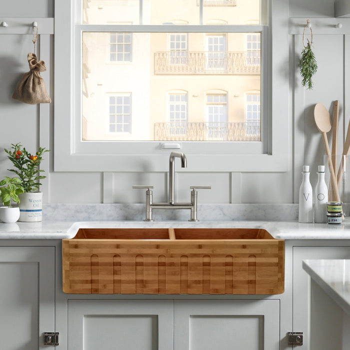 "Lydra 36"" Fluted Double Bowl Bamboo Farmer Sink"