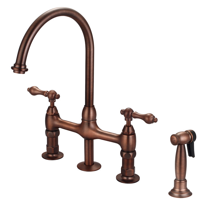 Harding Kitchen Bridge Faucet with Sidespray and Metal Lever Handles