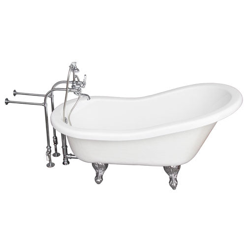 Estelle 60″ Acrylic Slipper Tub Kit in White – Polished Chrome Accessories