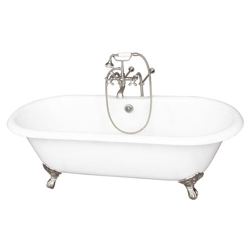 Columbus 61″ Cast Iron Double Roll Top Tub Kit – Brushed Nickel Accessories