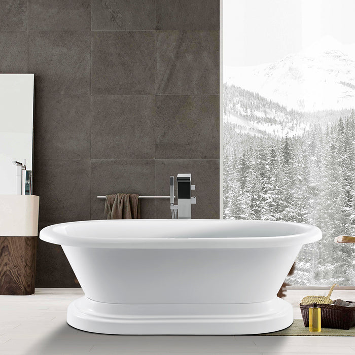 "Corinne 72"" Acrylic Double Roll Top Tub on Base"