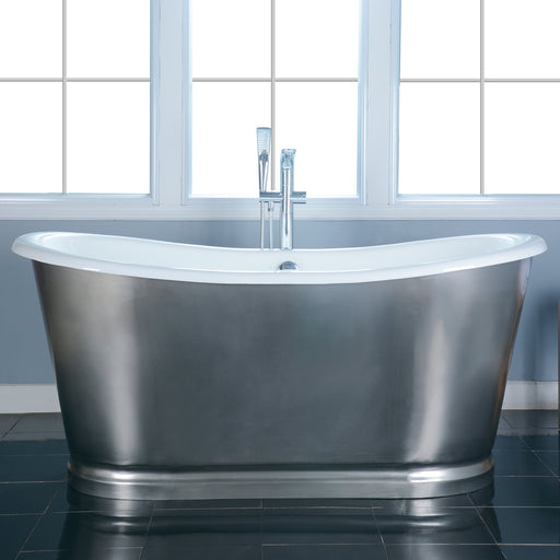 "Josephine 66"" Cast Iron Bateau Tub with Brushed Stainless Steel Skirt"