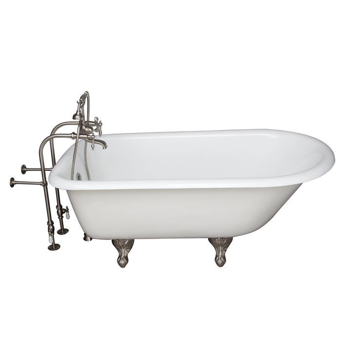 "Antonio 55"" Cast Iron Roll Top Tub Kit-Brushed Nickel Accessories"