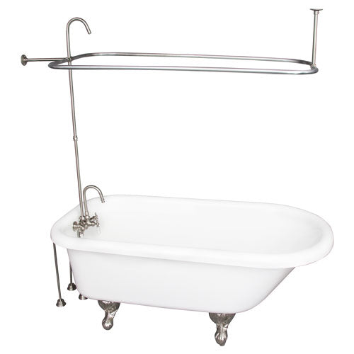 Asia 67″ Acrylic Roll Top Tub Kit in White – Brushed Nickel Accessories