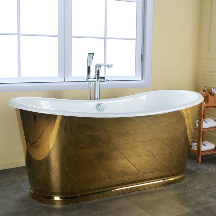 "Cleopatra 66"" Cast Iron Bateau Tub with Gold Stainless Steel Skirt"