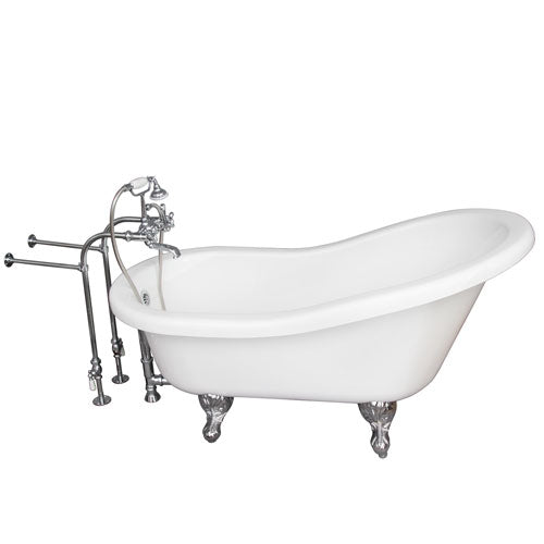Fillmore 60″ Acrylic Slipper Tub Kit in White – Polished Chrome Accessories