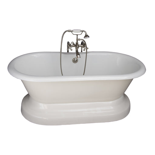 "Columbus 61"" Cast Iron Double Roll Top Tub Kit-Polished Nickel Accessories"