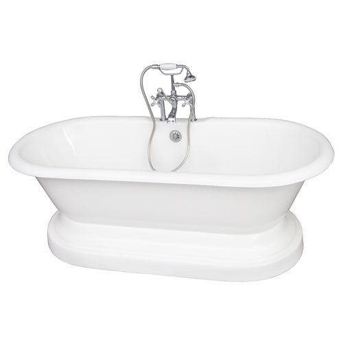 Columbus 61″ Cast Iron Double Roll Top Tub Kit – Polished Chrome Accessories