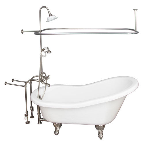 Estelle 60″ Acrylic Slipper Tub Kit in White – Brushed Nickel Accessories