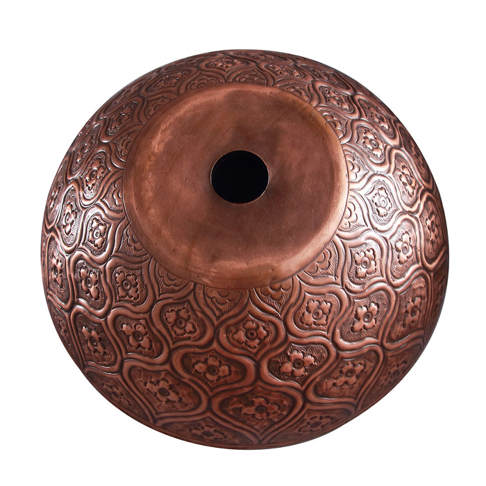 Addie Round Embossed Copper Vessel Sink