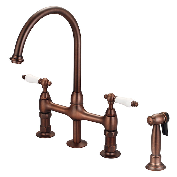 Harding Kitchen Bridge Faucet with Sidespray and Porcelain Lever Handles