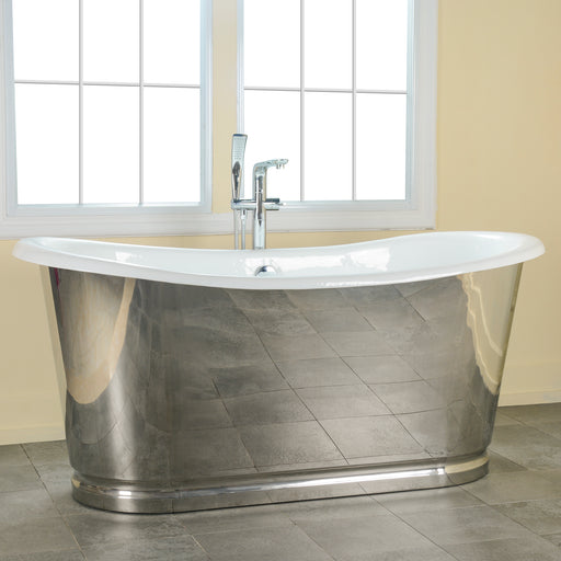 "Laurent 72"" Cast Iron Bateau Tub with Polished Stainless Steel Skirt"