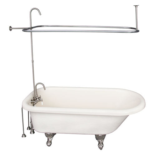 Andover 60″ Acrylic Roll Top Tub Kit in Bisque – Brushed Nickel Accessories