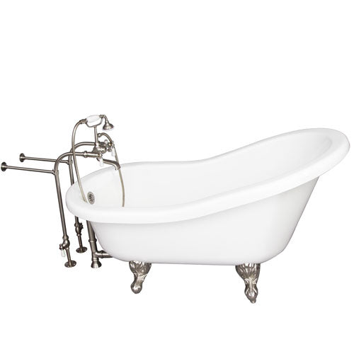 Fillmore 60″ Acrylic Slipper Tub Kit in White – Brushed Nickel Accessories