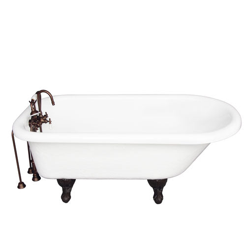 Andover 60″ Acrylic Roll Top Tub Kit in White – Oil Rubbed Bronze Accessories