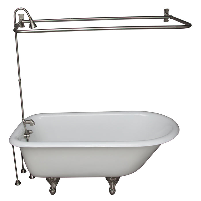 "Bartlett 60"" Cast Iron Roll Top Tub Kit-Brushed Nickel Accessories"