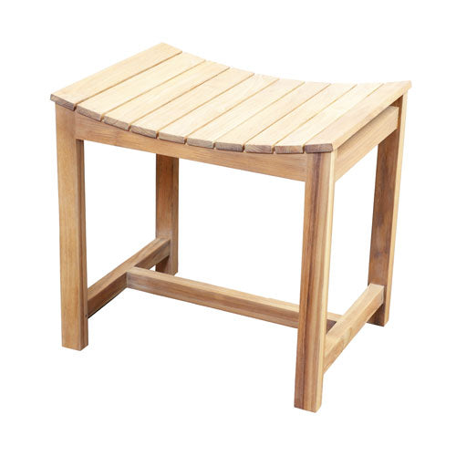 "20"" Teak Slatted Shower Stool"